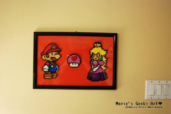Super Mario Bros Mario And Peach And Heart Mushroom Pixel Art Perler Beads Frame