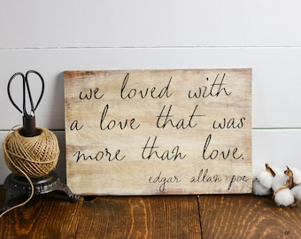 Edgar Allan Poe, Wall Decor, Wooden Signs, 8x12, Library decor, Literary art sign, Illistration, Literary gift, gallery wall