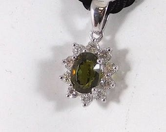 Diamond (1ct) & Sphene (3.10ct) Pendant w/ Silk Cord