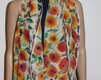 61-16 in hand painted silk summer scarf,Floral white yellow orange green long scarf,Head cover,Leaves flowers,Gift for her