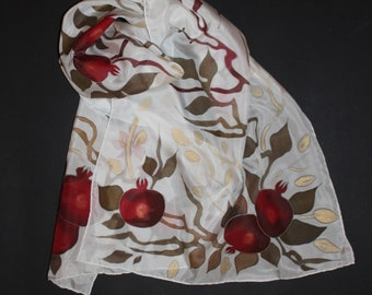 Hand painted silk scarf,Pomegranate scarf,Jewish Armenian gift,  Red white long silk scarf