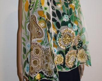 61-16 in hand painted silk scarf,long summer silk scarf,Head cover,Green yellow white colors,Dandelion butterfly scarf,summer gift for her