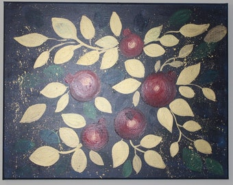 Original painting Pomegranates, Original decorative gold red Acrylic Painting on canvas