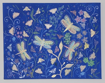 Original painting dragonflies and bees