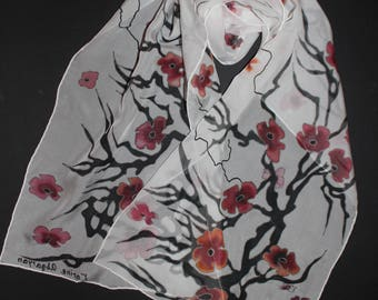 Hand painted cherry blossom scarf,Long silk scarf,Spring accessory,Mother gift, Gift for her