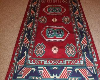 60-14 in Geometric pattern table runner Armenian carpet pattern cotton canvas