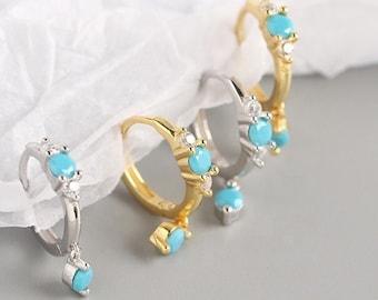 Sterling Silver Blue Gemstone Turquoise Huggie Hoop Earrings
