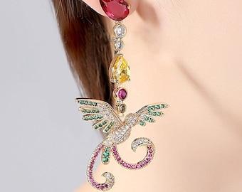 Gold plated Hummingbird Drop Dangle Earring