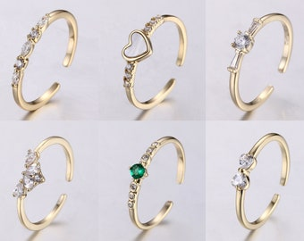 Delicate tiny   Gold Plated adjustable Brass rings for women