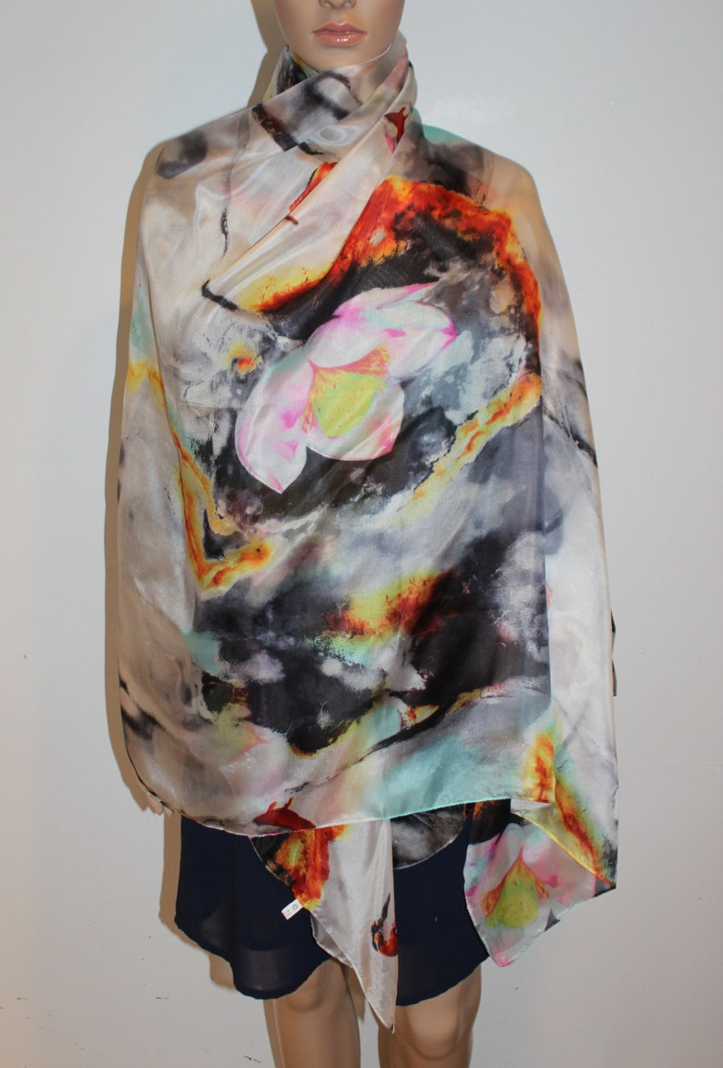 Floral Scarf Ladies Flowers Wrap Flower Print Shawl Sarong Yellow Red Blue Grey