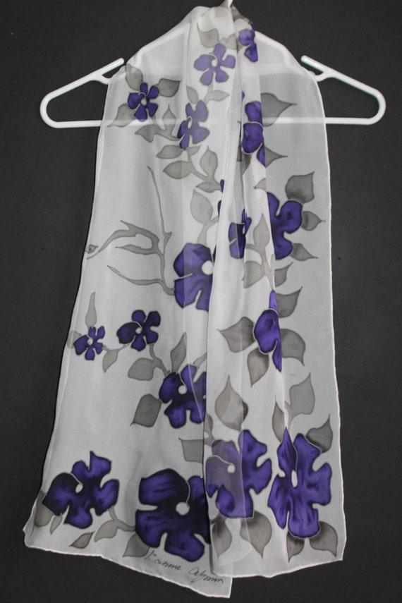 Shipping from US Armenian forget me not hand painted silk scarf ASAP