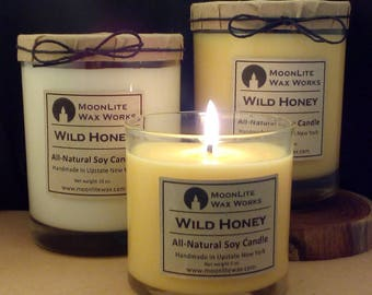 Wild Honey Hand Poured Scented Soy Candle, 5 oz. | Warm, Natural Scent