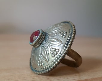 Old Afghan Kuchi Tribal Ring with Red Glass