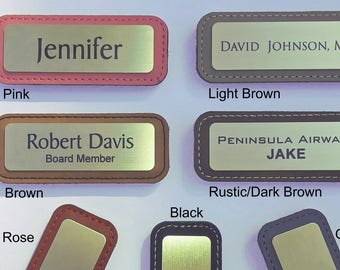 Leather & Brass Magnetic Name Tags. With 2 lines of text.