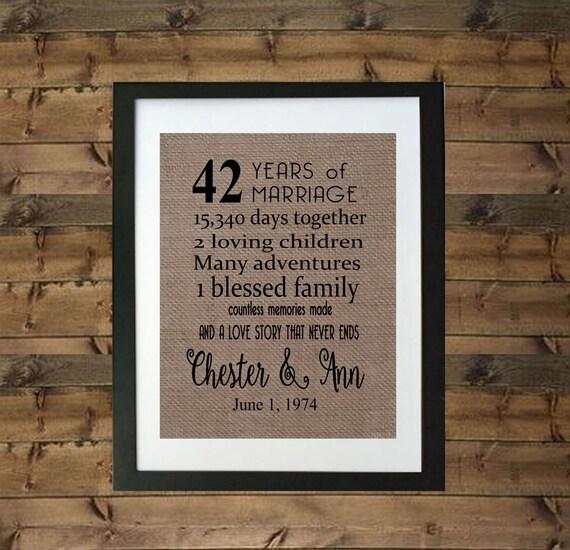 42nd Anniversary Gift 42nd Wedding Anniversary Gift 42 Etsy