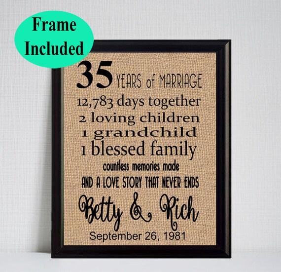 35 Year Wedding Anniversary 35th Anniversary Gift 35 Years Etsy