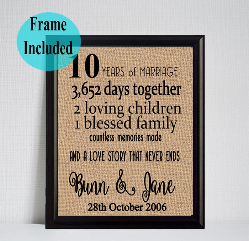 10th Anniversary Anniversary Gift 10 Years Together 10 Etsy