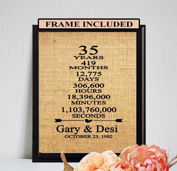 35 Wedding Anniversary Gifts For Parents: Items Similar To 35th Anniversary, 35th Wedding