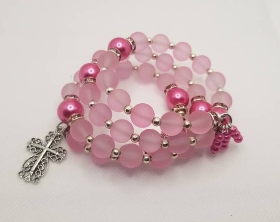 Lutheran rosary bracelet, Lutheran prayer bracelet, memory wire bracelet, wrap bracelet, pink pearls and rubberized beads, filigree cross