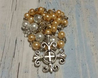 Prayer beads, Episcopal, Anglican, Methodist, Protestant, silver Jerusalem cross, peach and white glass pearls, religious, prayer beads