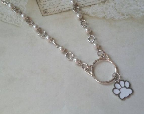 Kitten day collar, discreet day collar, white glass beads, BDSM collar, O ring necklace, silver day collar, cat ears, princess collar