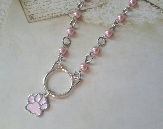 Kitten day collar, discreet day collar, pink glass beads, BDSM collar, O ring necklace, silver day collar, cat ears, princess collar, pearls