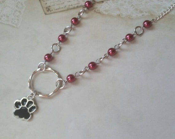 Kitten day collar, discreet day collar, red glass beads, BDSM collar, O ring necklace, silver day collar, princess collar, black  paw charm