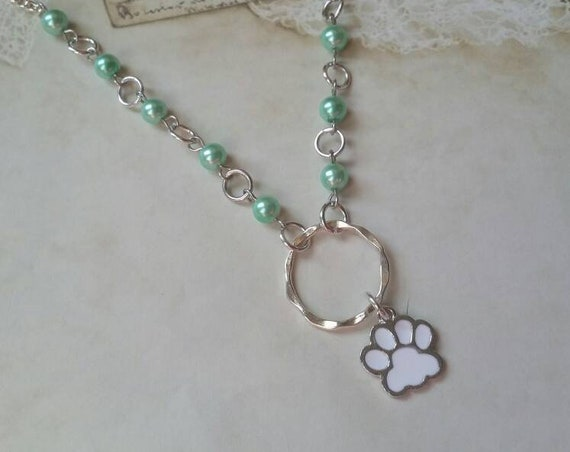 Kitten day collar, discreet day collar, green glass beads, BDSM collar, O ring necklace, silver day collar, princess collar, white paw charm