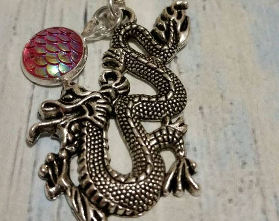 Chinese dragon necklace, dragon scale pendant, silver tone with iridescent light red dragon scale textured cabochon