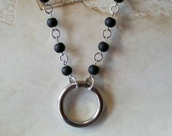 O ring day collar, matte black glass  beads, discreet day collar, symbolic jewelry, BDSM collar, submissive collar, silver, O ring necklace