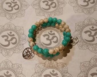 Mala bracelet, 54 bead mala, memory wire bracelet, wrap bracelet, blue glass beads, gemstone beads, yoga bracelet, meditation beads, mala