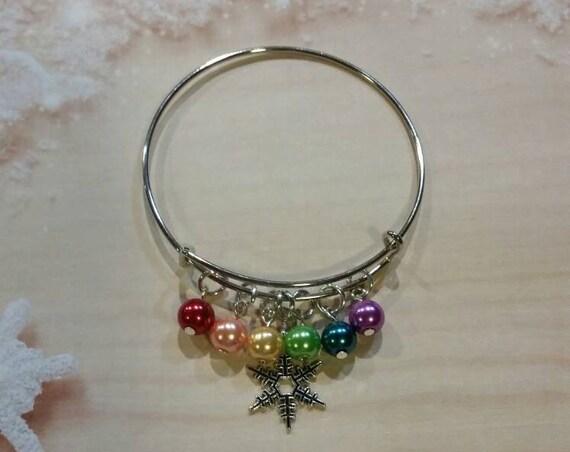 Snowflake bangle, Snowflake bracelet, liberal bracelet, silver expandable bangle, LGBT bracelet, proud snowflake jewelry, rainbow bracelet