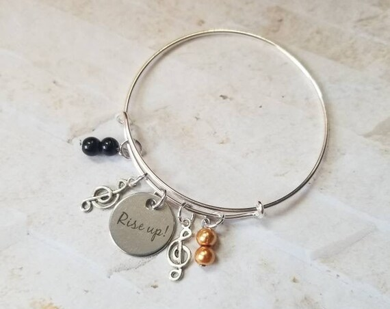 Hamilton bangle, Hamilton charm bracelet, silver metal bangle, expandable bangle, Rise Up charm bracelet, Hamilton musical, charm bangle