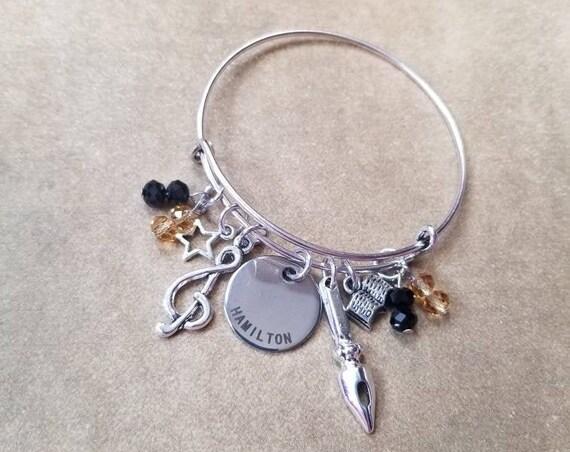 Hamilton charm bracelet, Hamilton bangle, silver metal bangle, expandable bangle, charm bracelet, Hamilton charm bangle, Hamilton fan gift