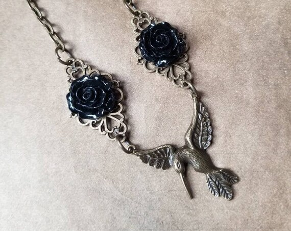 Victorian hummingbird necklace, black roses, bronze hummingbird, gift for Valentine's Day, soft Goth jewelry, OOAK gift, hummingbird jewelry