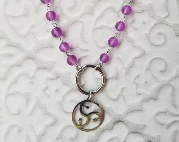 O ring day collar, discreet day collar, symbolic jewelry, BDSM collar, submissive collar, stainless, purple sea glass, BDSM symbol charm