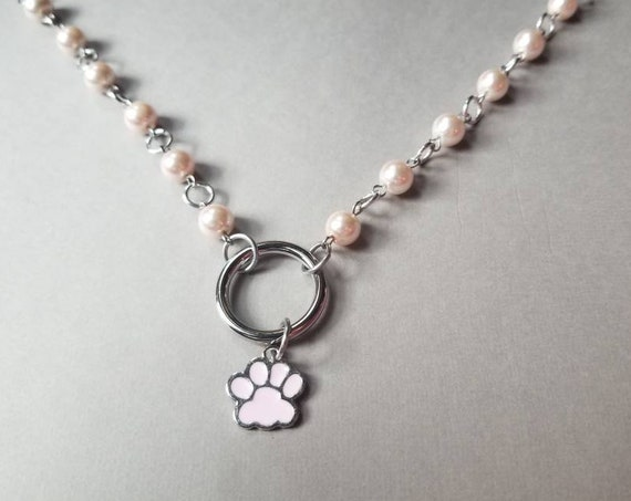 Kitten day collar, discreet day collar, pink glass beads, BDSM collar, O ring necklace, silver day collar, princess collar, pink paw