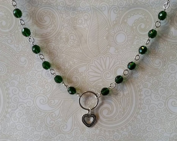 Heart day collar, green Czech  glass beads, discreet day collar, symbolic jewelry, BDSM collar, submissive collar, O ring, heart charm