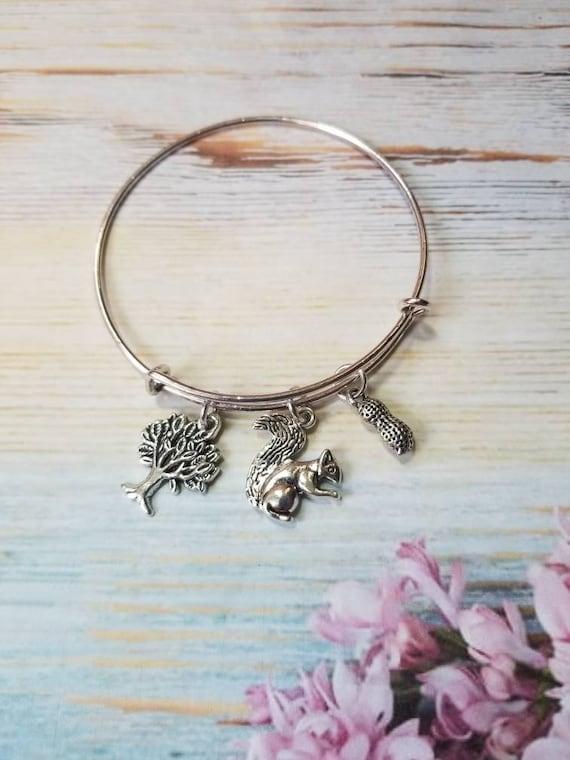 Squirrel bracelet, squirrel charm bangle, expandable bangle, squirrel application day,  charm bracelet, expandable charm bangle, unique gift