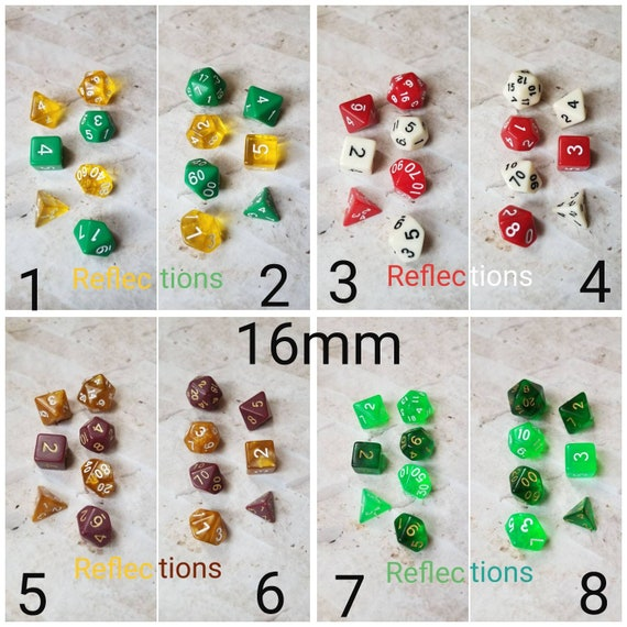 Reflections dnd dice, curated set, polyhedral dice, DnD dice set, RPG dice, D and D dice, gaming dice, set of 7 dice, hand picked sets
