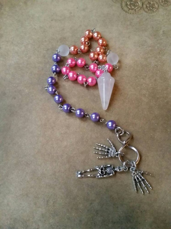 Day of the Dead prayer beads, Dia de Los Muertos prayer beads, pagan prayer beads, stainless steel, glass pearls, Sea glass, skeleton charms