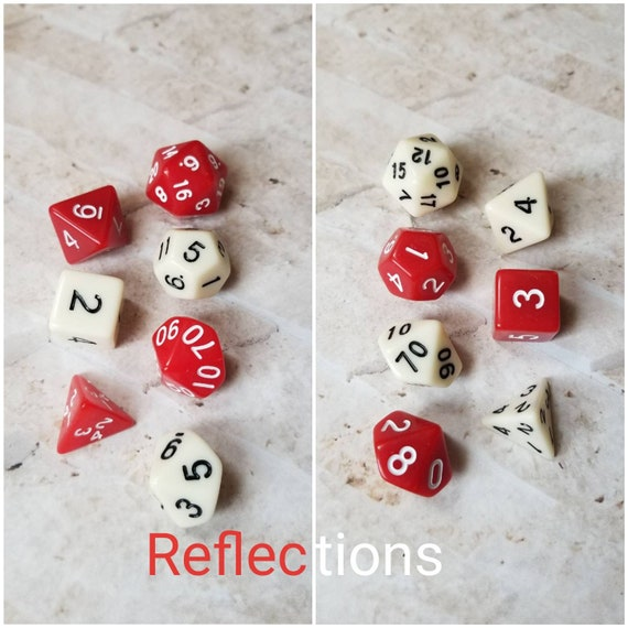 Reflections dnd dice, red and white curated dice set, polyhedral dice, DnD dice set, gaming dice, set of 7 dice, hand picked sets, 16mm