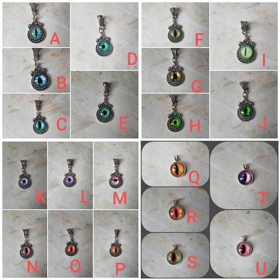 Dragon eye pendant, dragon eye necklace, dragon jewelry, fantasy necklace, snake eye necklace, cat eye jewelry, eye pendant, many colors