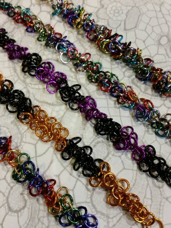 Chain maille bracelet, Shaggy loops bracelet, shaggy loops chain maille bracelet, Halloween colors, LGBT Pride,  multi-colored shaggy loops