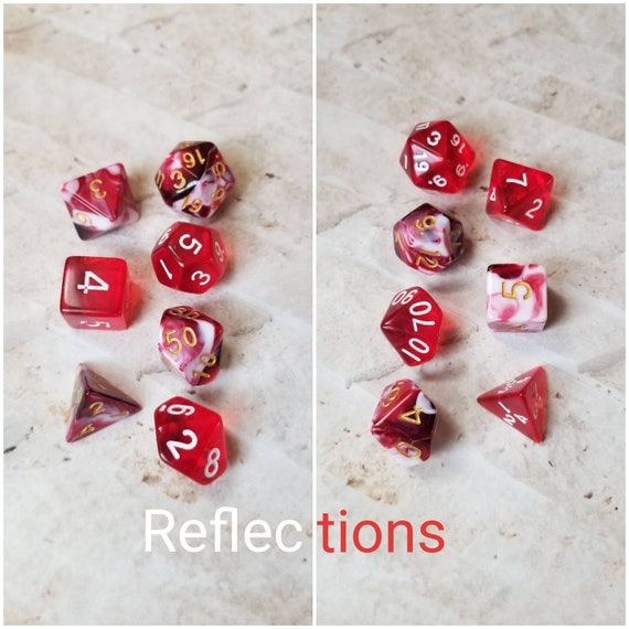 Reflections dnd dice, red and white curated dice set, polyhedral dice, DnD dice set, RPG, gaming dice, set of 7 dice, hand picked sets, 16mm