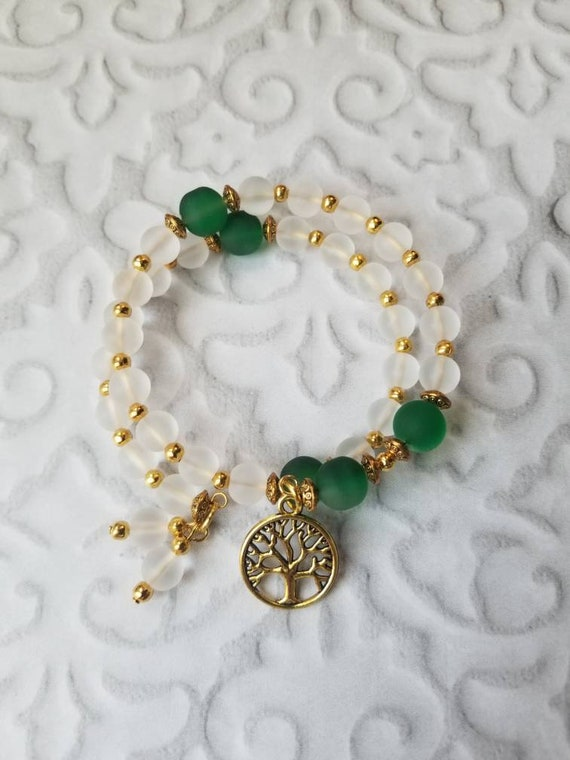 Anglican prayer bead bracelet, memory wire bracelet, beaded bracelet, wrap bracelet, green and clear glass beads, gold beads, tree of life