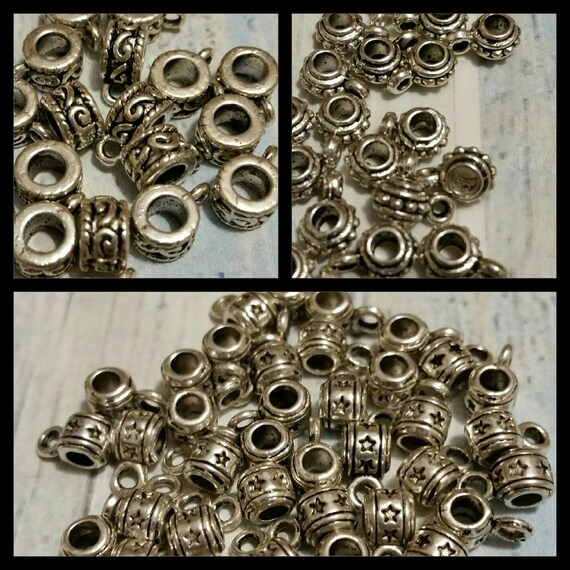 Destash, bails, silver toned metal jewelry bails in three styles x 20