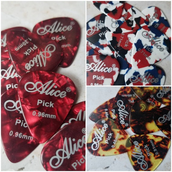 Destash guitar picks, guitar plectrums, Alice brand pearl guitar picks, Alice picks x 10, pearl picks, premium Alice picks, choice of three