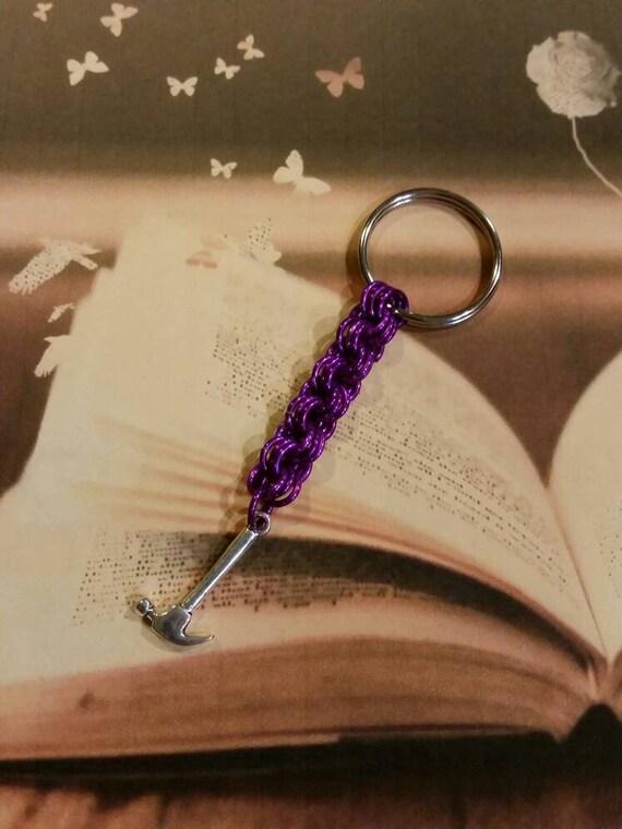 Smash the patriarchy keychain, LGBT Pride keychain, chain maille chain, purple chain mail, feminist keychain, hammer keychain, humorous gift