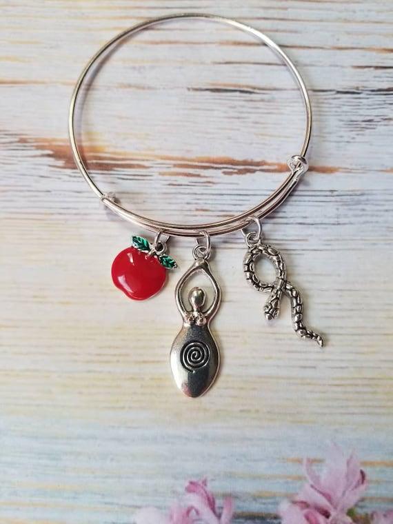 Goddess bracelet, Lillith bangle, charm bangle, expandable bangle, silver charm bracelet, Pagan bangle, Lillith jewelry, Eve bracelet